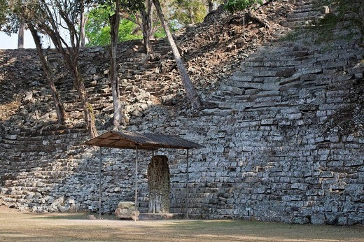 Stock Photo: 1436R-311062 Stela N in front of Temple of the Inscriptions, Mayan ruins of Copan, Honduras