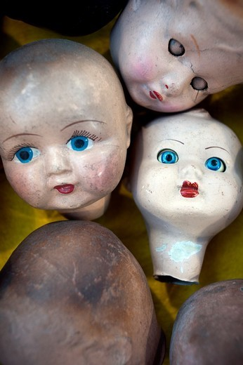 Stock Photo: 1436R-311311 Aged , Broken , Close-up , Closeup , Color , Colour , Concept , Concepts , Disturbing , Doll , Dolls , indoor , indoors , interior , Macabre , Old , Old fashioned , Old-fashioned , Sinister , various, similar, vintage, antique, idea, viejo, roto, primer p