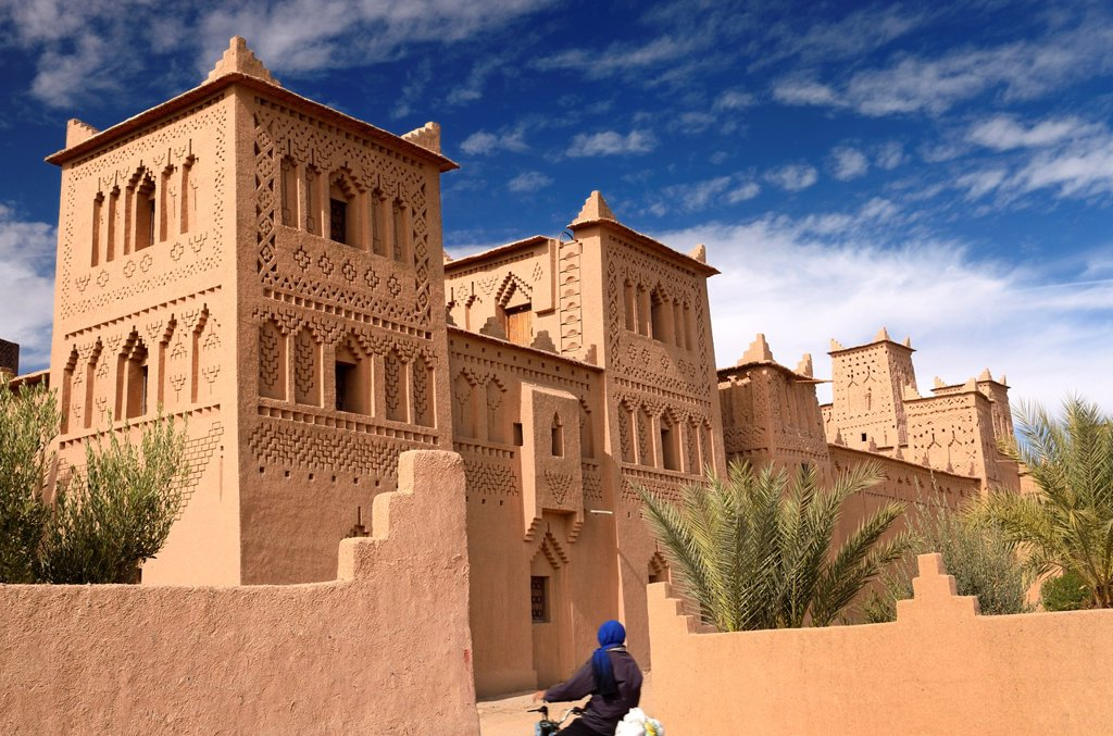 Stock Photo: 1436R-312175 Refurbished towers of the ancient heritage site Kasbah Amerhidl in the Skoura oasis Morocco