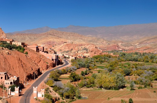 Farmland and red rock hills in Dades Gorge in the High Atlas mountains Morocco : Stock Photo