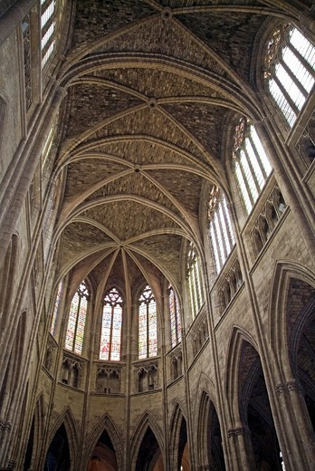 Stock Photo: 1436R-312519 Vaulted ceilings and stained glass windows of Saint Andre Cathedral, Bordeaux, Aquitaine, France