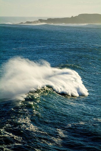 Stock Photo: 1436R-312725 Waves at Biscay coast with Izaro island in background, Basque Country, Spain