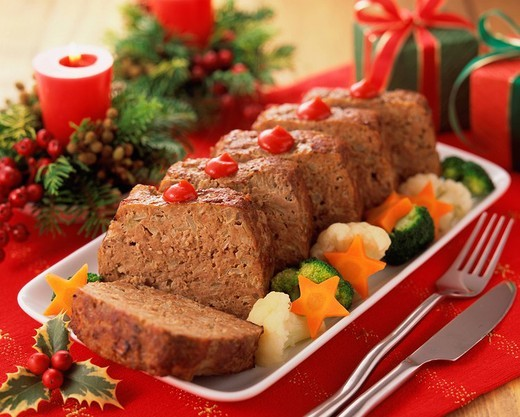 Meatloaf on tray : Stock Photo