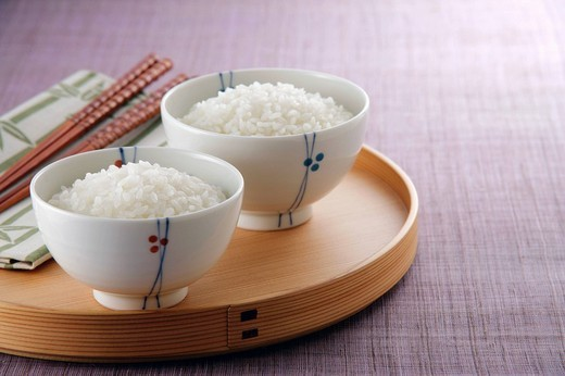 Steamed rice in rice bowl : Stock Photo