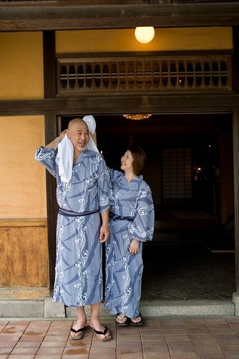 Senior couple standing wearing yukata : Stock Photo