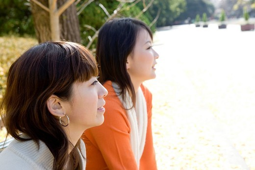 Stock Photo: 1436R-331099 Two young women, side view