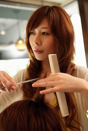Stock Photo: 1436R-333335 Hairdresser cutting womans hair