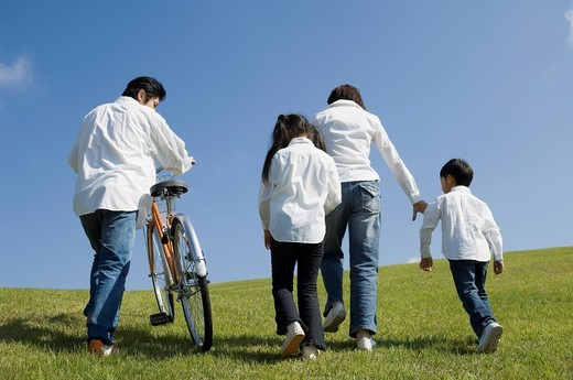 Family walking in field : Stock Photo