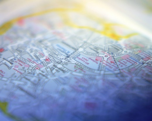 Stock Photo: 1436R-334671 Close up of a city map