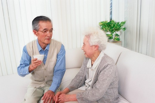 Stock Photo: 1436R-335088 Senior couple talking in a living room