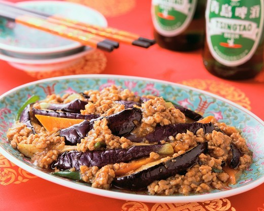 Stock Photo: 1436R-335509 Eggplant with Minced Meat
