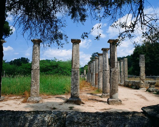 Stock Photo: 1436R-336783 Ancient pillars in Olympia, Greece