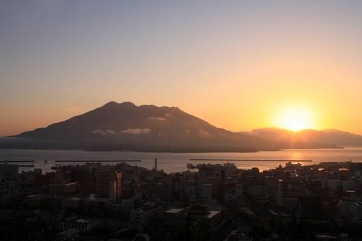 Stock Photo: 1436R-338763 Sunrise of Sakurajima, Kagoshima, Kagoshima, Japan