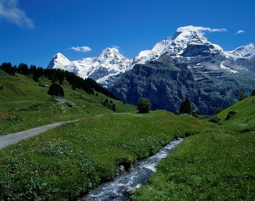Murren, Eiger, Monch, Jungfrau, Bern, Switzerland : Stock Photo