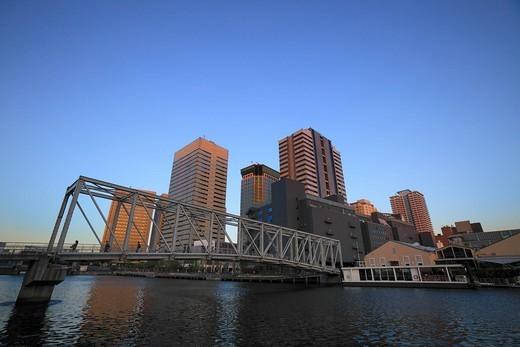 Tennoz Fureai Bridge, Shinagawa, Tokyo, Japan : Stock Photo