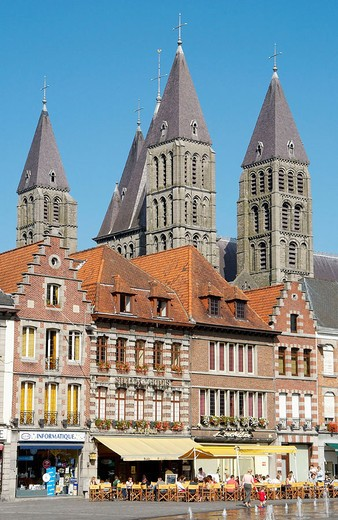 Notre Dame cathedral in the Grand-Place. Tournai. Hainaut, Belgium : Stock Photo