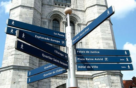 Beffroi (´belfry´) tower in the Grand Place. Tournai. Hainaut, Belgium : Stock Photo