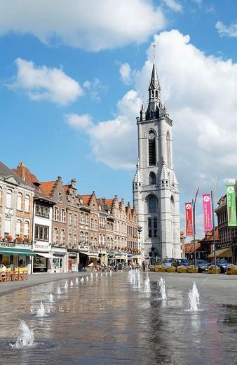 Stock Photo: 1436R-348785 Beffroi (´belfry´) tower in the Grand Place. Tournai. Hainaut, Belgium