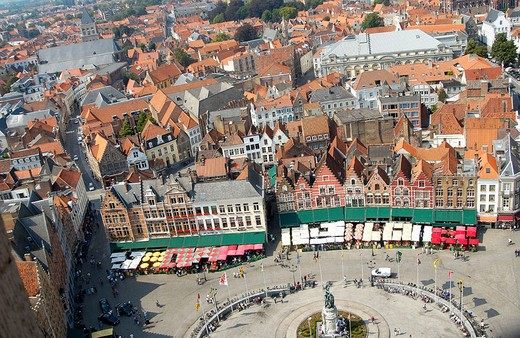 Stock Photo: 1436R-348788 The Markt (Market Place), view from the Belfry. Brugge. Flanders, Belgium