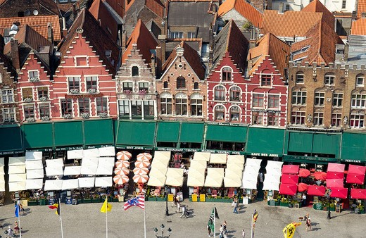 Stock Photo: 1436R-348789 The Markt (Market Place), view from the Belfry. Brugge. Flanders, Belgium