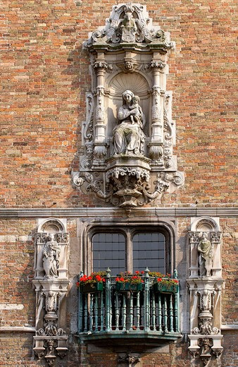 Belfry and Halles (covered market), detail, in the Markt (Market Square). Brugge. Flanders, Belgium : Stock Photo