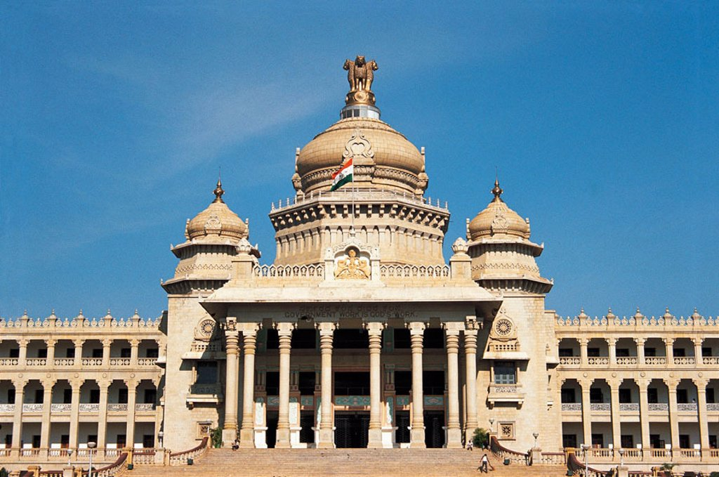 Stock Photo: 1436R-348947 Vidhana Soudha, home of the Karnataka Legistative branch. Bangalore. Karnataka, India