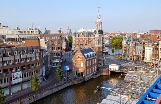 Stock Photo: 1436R-349519 Munttoren (Mint Tower, 1620), Muntplein y Singel canal. Amsterdam. Netherlands