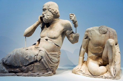 Statues in the Olympic museum. Katakolon, Greece : Stock Photo