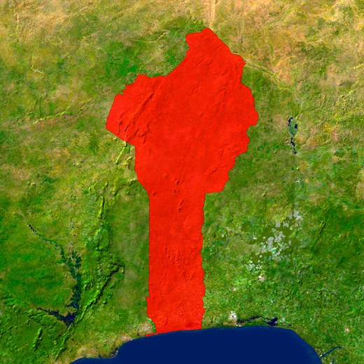 Stock Photo: 1436R-352201 Highlighted satellite image of Benin