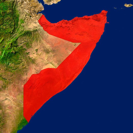 Highlighted satellite image of Somalia : Stock Photo