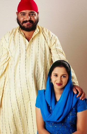 Indian Sikh Punjabi couple from India. : Stock Photo
