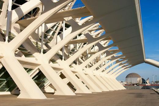 Stock Photo: 1436R-353076 Príncipe Felipe museum of sciences, City of Arts and Sciences by S. Calatrava. Valencia, Comunidad Valenciana, Spain