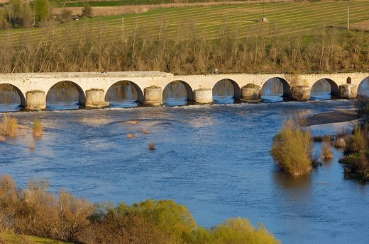 Stock Photo: 1436R-356890 Medieval bridge over Douro river, Toro. Zamora province, Castilla-León, Spain