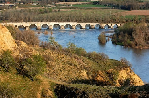 Stock Photo: 1436R-356891 Medieval bridge over Douro river, Toro. Zamora province, Castilla-León, Spain