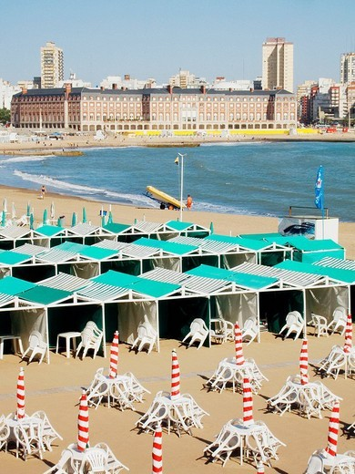 Beach of Mar del Plata and casino in background. Argentina : Stock Photo