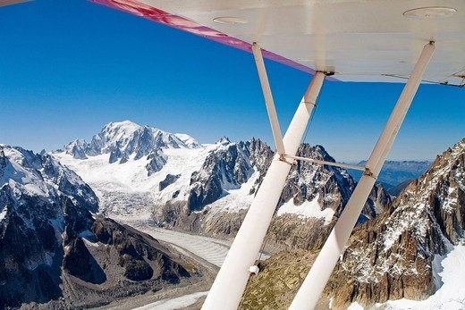 Aerial photography on the Mont-Blanc massif from a small plane. Haute-Savoie (74), France : Stock Photo