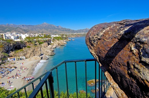 Stock Photo: 1436R-362780 Playa Calahonda, view from Balcon de Europa, Nerja, Costa del Sol, Malaga province, Andalusia, Spain
