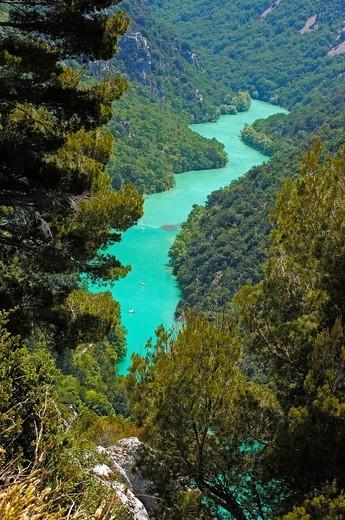 Verdon Gorge river canyon, Verdon Regional Natural Park, Provence-Alpes-Cote-d´Azur, France : Stock Photo