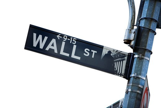 Stock Photo: 1436R-425995 Wall street sign