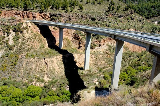 Stock Photo: 1436R-426574 High bridge between Granada and the Alpujarras mountains, Andalusia, Spain