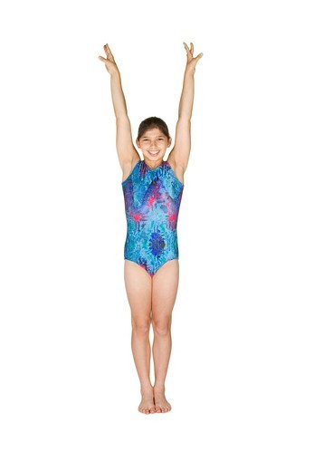12 year old caucasian girl in gymnastics poses : Stock Photo