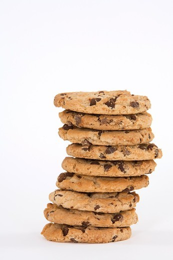 Stock Photo: 1436R-427381 Chocolate Chip Cookies on white background