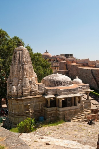 Kumbhalgarh Fort, Rajasthan state, India, Asia, Built during the course of the 15th century by Rana Kumbha, and enlarged through the 19th century, Kumbhalgarh is also a birthplace of Maharana Pratap, the great king and warrior of Mewar : Stock Photo