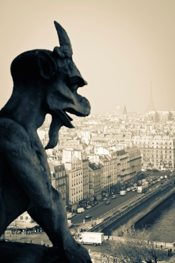 Gargoyle figure  Notre Dame Cathedral  Paris, France, Europe : Stock Photo