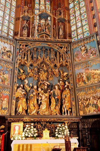 Altarpiece of Veit Stoss , is the largest Gothic altarpiece in the World : Stock Photo