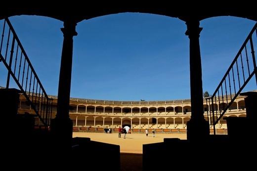 Stock Photo: 1436R-429599 Inside the Plaza de Toros de Ronda, a bullring arena in Ronda, Andalusia, Spain.