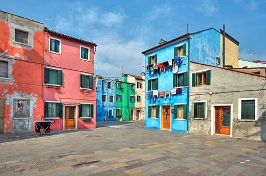 Burano - a small island which belongs to Venice and which is very popular because of its colourful houses : Stock Photo