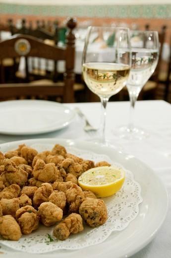 Cazón en adobo serving. Andalucía, Spain. : Stock Photo