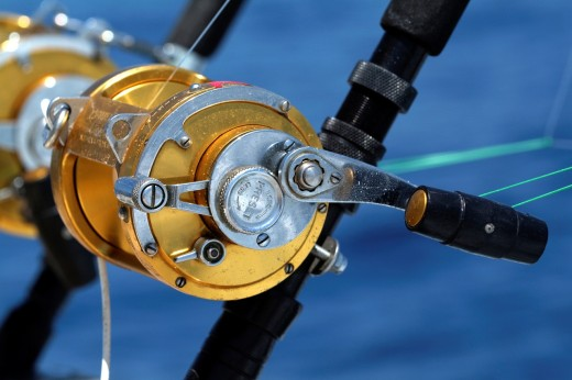 France mediterranean sea two rod and reel on board of a game fishing boat : Stock Photo