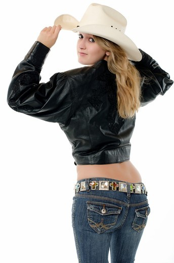Stock Photo: 1436R-431869 Cowgirl´s backside with sexy butt